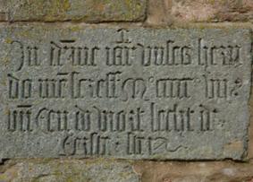 Inschrift im Glockenturm